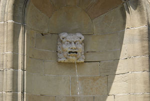 One of the many gargoyles on the grounds of Greystone