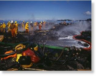 Exxon Valdex oil spills causing catastrophic effects to environment