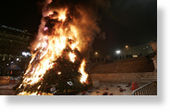 Xmas tree burning in Athens