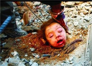 Gazan girl head in rubble