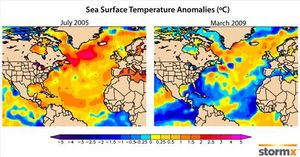 Atlantic sea surface temperature anomalies 2005 2009