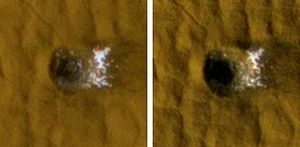 mars crater ice