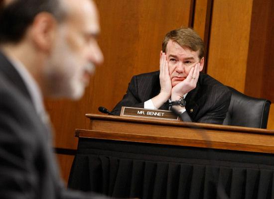 Senator Bennet Listens to Ben Bernanke