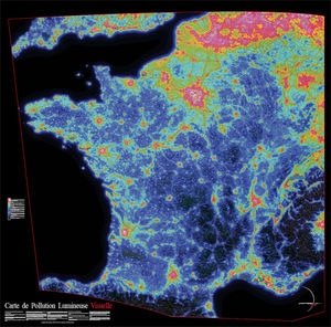 France light pollution map