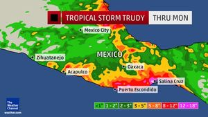 rainfall tropical strorm trudy