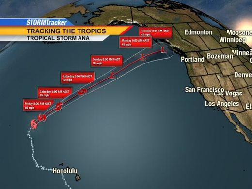 Tropical Storm Ana headed for western Canada next week
