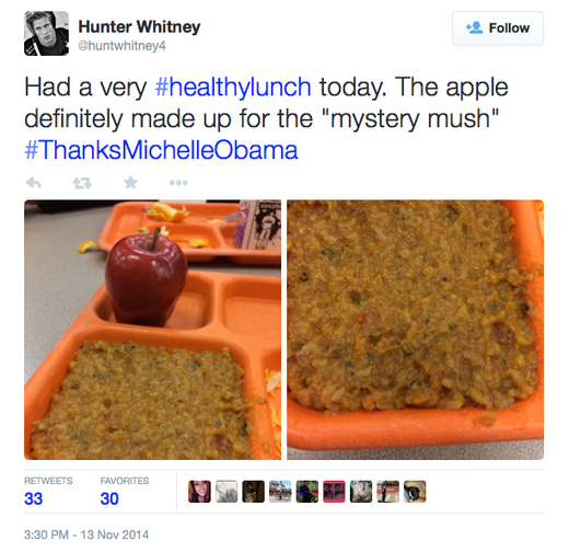 More students say #ThanksMichelleObama for the 'mystery mush' lunches
