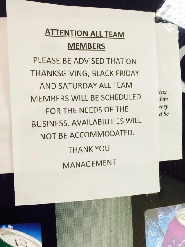 Kmart family values: 'If you do not come to work on Thanksgiving, you will automatically be fired'