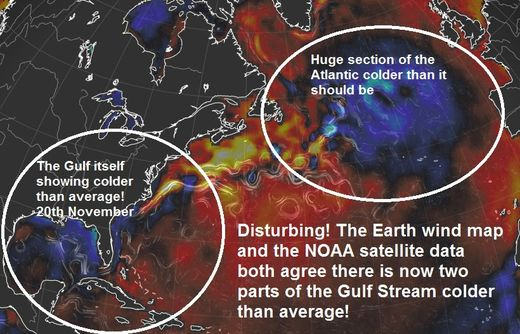 Disturbing! The Gulf Stream now stalling in two broken areas