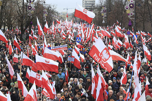 Polish protests flags
