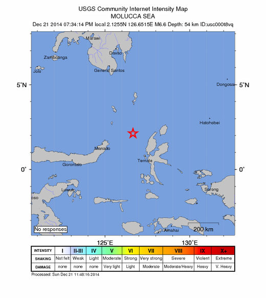 USGS: Earthquake Magnitude 6.6 - 157km WNW of Tobelo, Indonesia