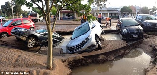 Sinkhole swallows 3 cars in Port Melbourne, Australia