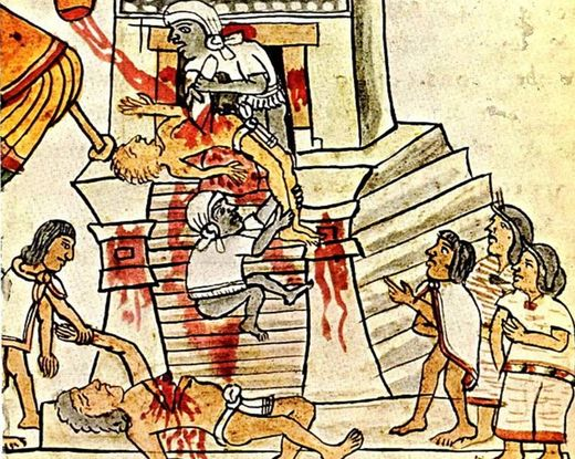 Aztec ritual human sacrifice portrayed in the Codex Magliabechiano