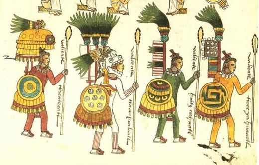 Illustration of Aztec Warriors as found in the Codex Mendoza