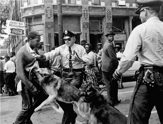 A 17-year-old civil rights demonstrator being attacked by a police dog during protests