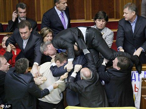 Ukrainian parliament brawl