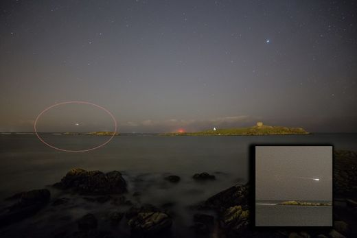 Fireball photographed over Dublin skies
