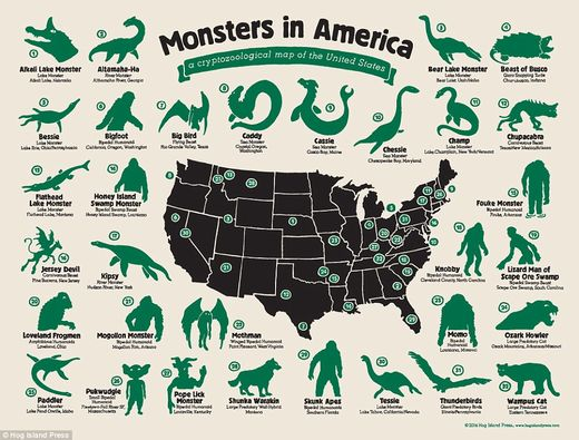 United monsters of America: Infographic shows the location of strange beasts