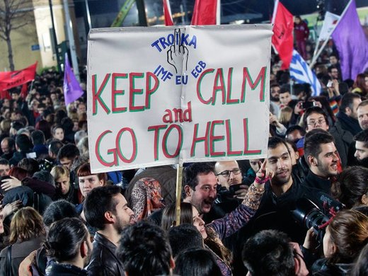 Syriza protest sign
