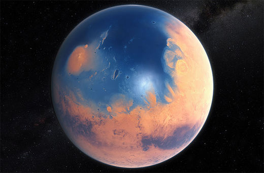 The red and blue planet: Mars once had massive ocean in N. hemisphere
