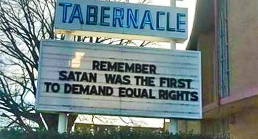 Church puts up sign linking equal rights with Satan