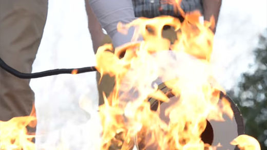 Low-frequency sound-based fire extinguisher puts out flames