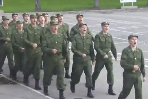Tell it to the Marines: Russian army sings 'Barbie Girl' in attempt to liven up training drill