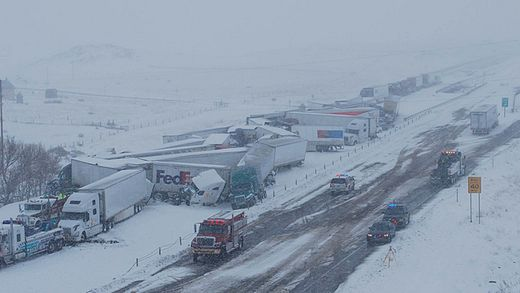 April blizzard conditions cause 70-vehicle pile up on Wyoming interstate; 10 inches of snow in one day