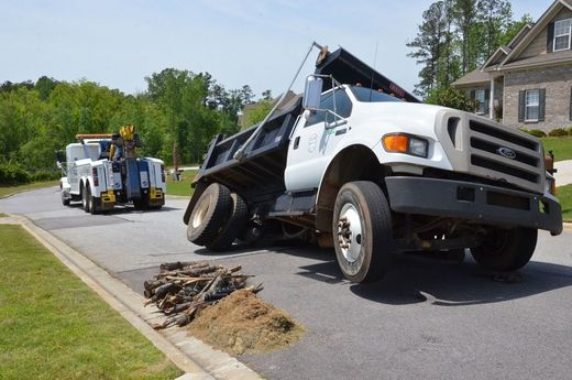 Sinkhole swallows dump truck in Aiken, South Carolina