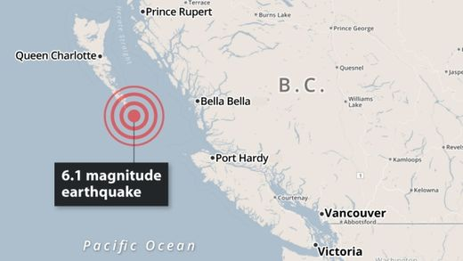 Two earthquakes rattle Canadian west coast and B.C. Interior