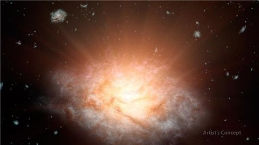 Remote galaxy discovered shining with infrared light equal to more than 300 trillion suns