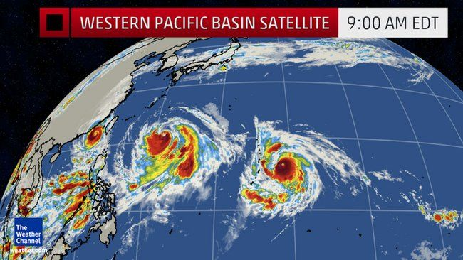 up to five tropical cyclones at once possible in the pacific ocean  how rare is that