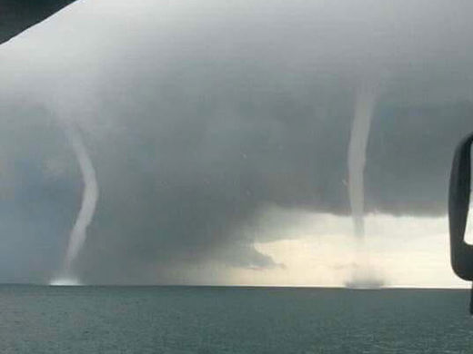 Twin waterspouts spotted near Cape Coral, Florida