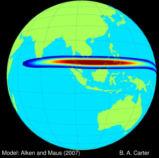 Study: Jet of electric current amplifies space weather at equatorial regions