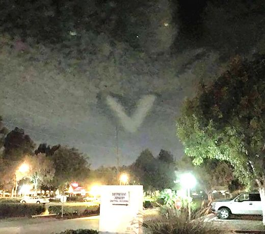 Huge V-shaped cloud seen over Carson and other cities in California during Harvest Moon Eclipse