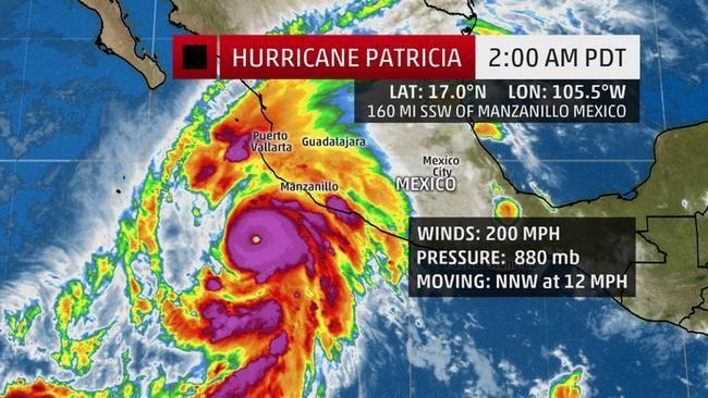 Ураган Патрисия становится сильнейшим ураганом за всю историю