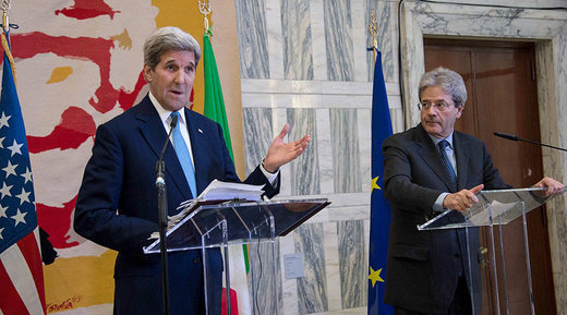 Telling it like it is: Woman shouts 'it's you who created Daesh!' to Kerry at press conference in Italy