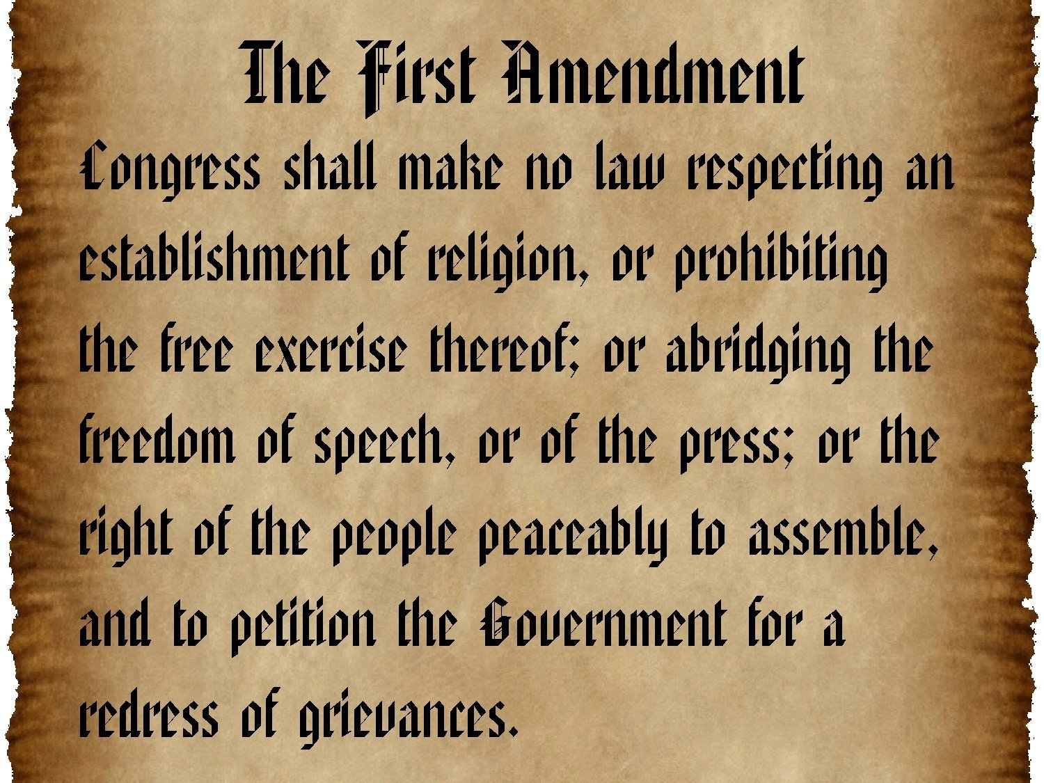 first amendment bill of rights This section covers the first amendment of the  simple right at first  is part of the bill of rights the amendment prohibits the making of any.