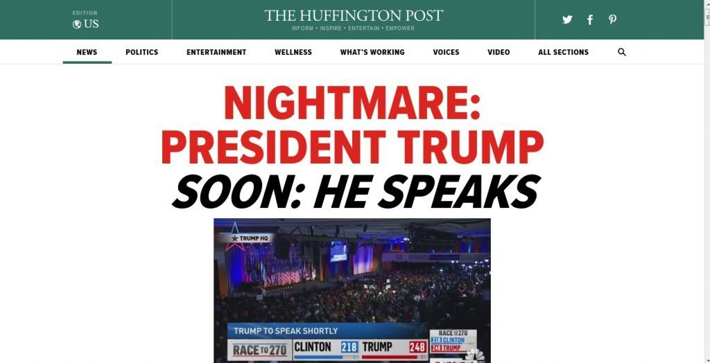 Huffington Post Bemoans The Trump Nightmare Societys Child - Huffington post us election map