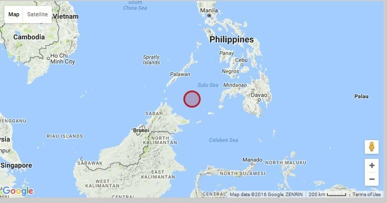 Shallow 6.1 magnitude earthquake in Sulu Sea near