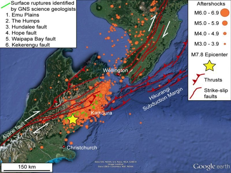 New zealands unusual earthquake raises complex questions new zealand 78 earthquake map gumiabroncs Choice Image