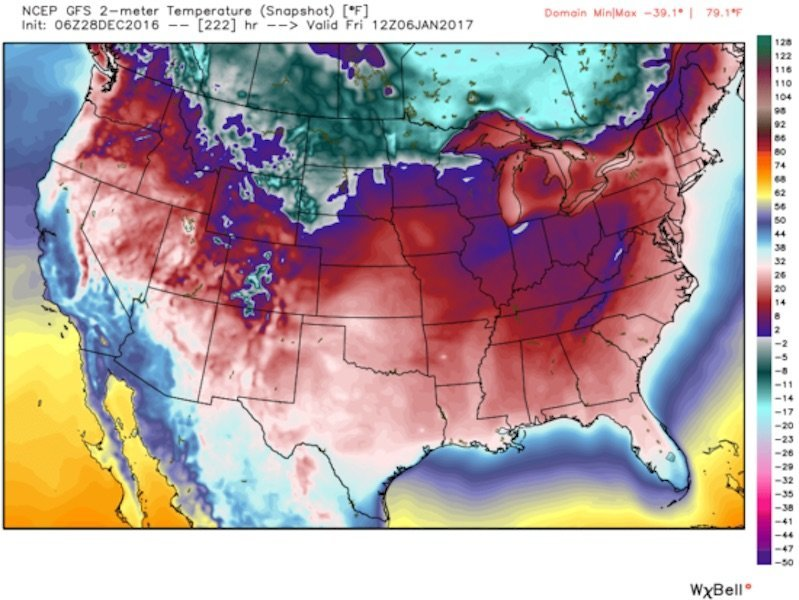 Record Cold 48 States Going Below Freezing In The First Week Of - Us 48 States Map