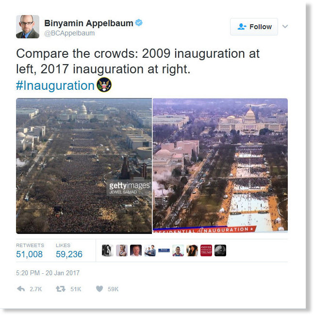 MSM caught faking inauguration crowd size as CNN's president warns ...