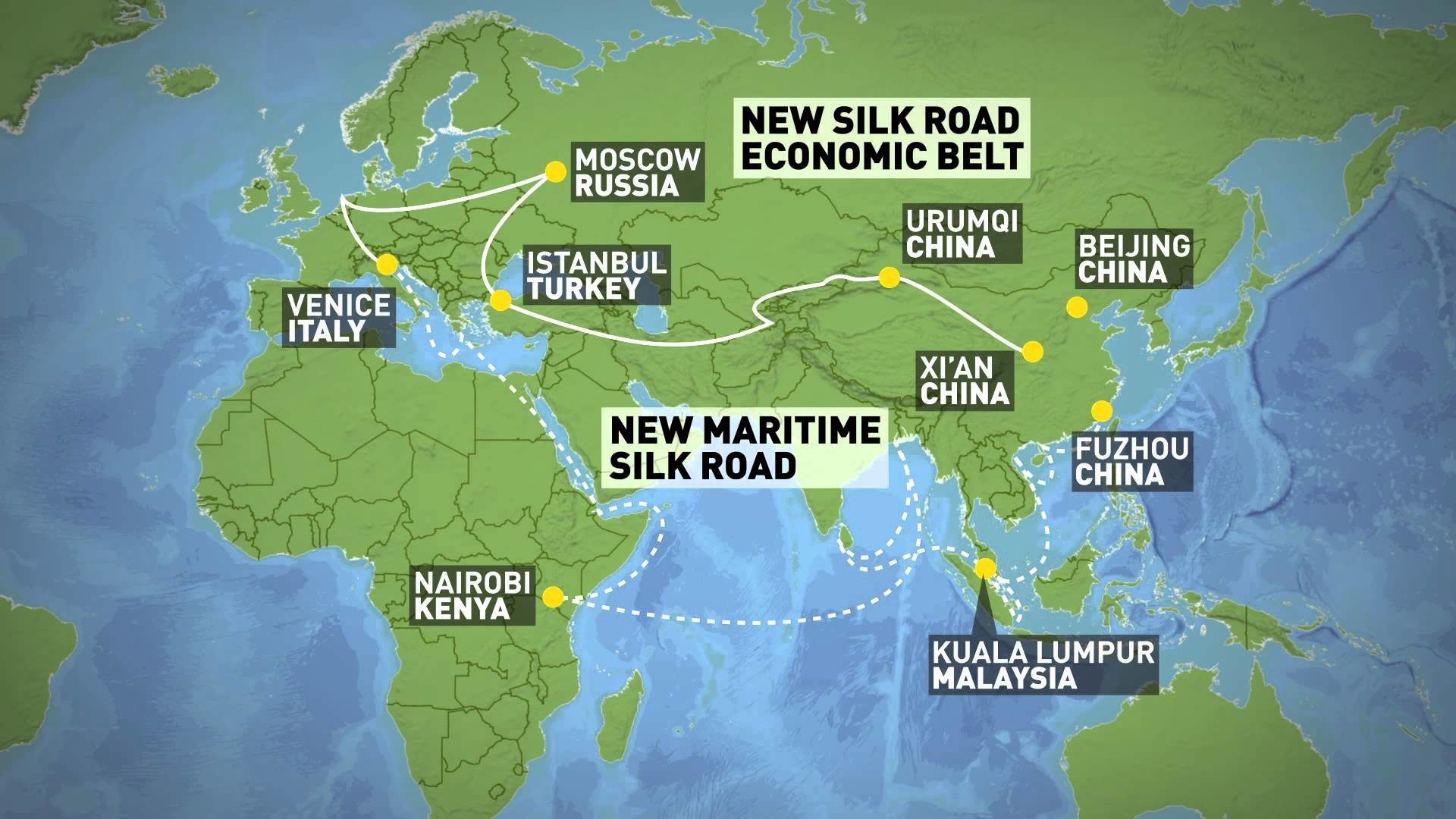 The end of the unipolar world china and russia continue to build one belt one road initiative map gumiabroncs Choice Image