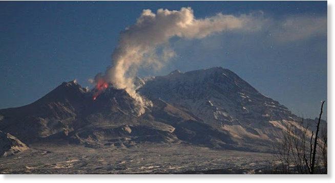 Active volcanoes of Kamchatka, Russia. Shiveluch, Klyuchevskaya ...