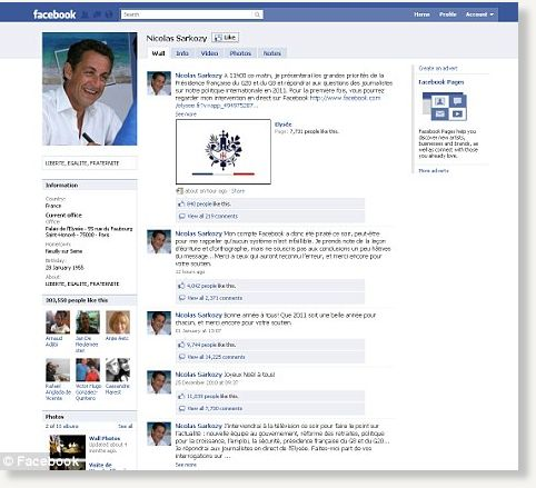 On mr sarkozy s facebook page and was sent to thousands of friends