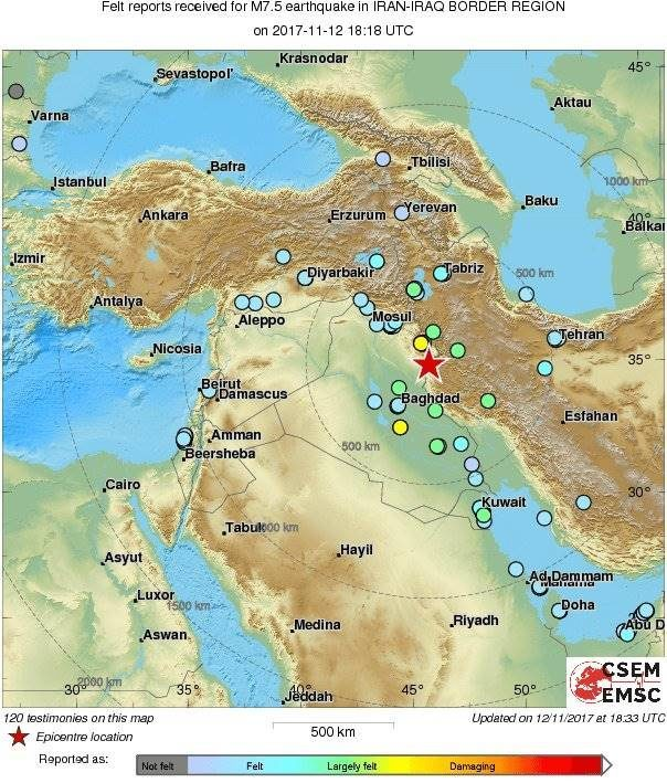 Iran iraq border region hit with 72 magnitude earthquake 400 earthquake iran iraq 11122017 gumiabroncs Images