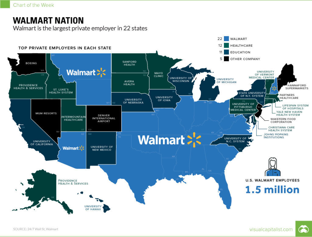 Walmart Nation Map that shows the largest employer in every