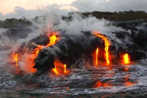 Hot lava spills into the sea
