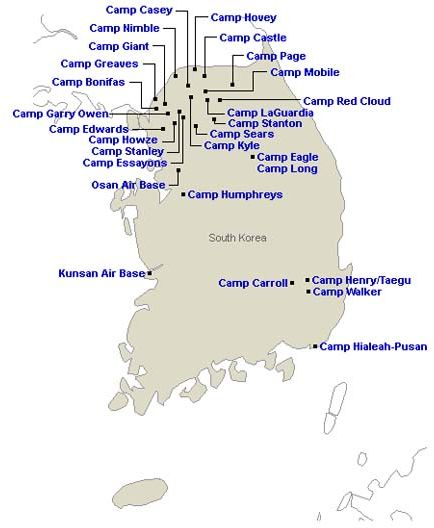USA Bases In South Korea And Japan NZDPRKSociety Korea Maps - Us military base south korea map
